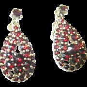 SALE Vintage Drop Earrings Gold Filled Bohemian Garnet