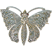 SALE Sterling Butterfly Brooch with Marcasite