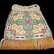 SALE Vintage Micro Bead Bag Native American Motif