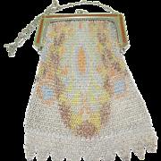 SALE Vintage Whiting & David Art Deco Mesh Bag Enamel Work
