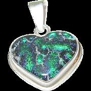 SALE Vintage Sterling Art Glass Heart Pendant