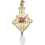 SALE Vintage Gold Filled Lavaliere Faux Ruby & Faux Pearl
