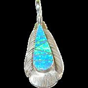 SALE Vintage Sterling Opal Doublet Feather Pendant by N.J.
