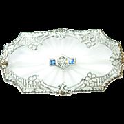 SALE Art Deco 14K Diamond & Sapphire Camphor Glass Brooch