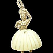 SALE Vintage 18K Pendant Female Dancer
