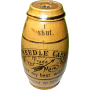 SALE Vintage Asbro Needle Case Wooden Barrel