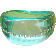 SALE Vintage Lucite & Rhinestone Bangle Aquamarine