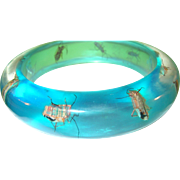 SALE Vintage Lucite Bangle Lt. Blue Infused Insects