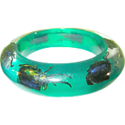 SALE Vintage Lucite Bangle  Lt Green Assorted Insects