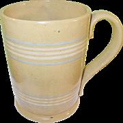 SOLD Mocha Ware Lg Mug Blue  White Stripes