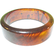 SALE Vintage Bakelite Bangle Translucent Root Beer