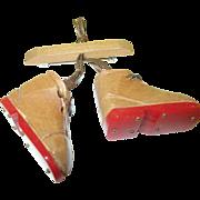 SALE Vintage Bakelite  Wood Ski Boot Brooch