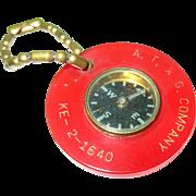 SALE Vintage Bakelite Compass Key Chain
