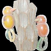 SALE Vintage Bakelite & Wood Martha Sleeper Dress Clip Two Birds on a Tree Trunk