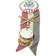 SALE Vintage Bakelite Drum U.S. Army Button Ribbon