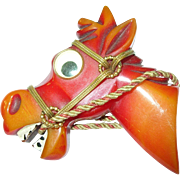 SALE Vintage Bakelite Googly Eye Horse Head Brooch Book Piece