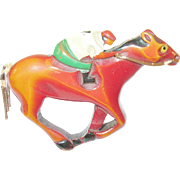 SALE Vintage Bakelite Racehorse with Jockey