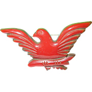 SALE Vintage Bakelite Wood American Eagle Brooch