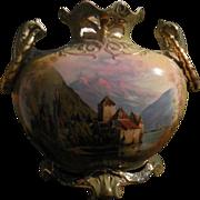 Royal Bayreuth Castle Scene Porcelain Vase