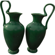 Rare Pair Rookwood  Green Ewers - 1928