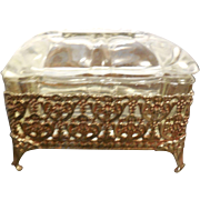 Vintage Ornate Ormolu Jewelry Casket Box