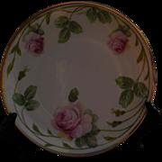 Erdmann Schlegelmilch 1930's Green Prussia Suhl Hand Painted Tea Rose Plate