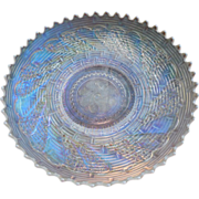 Dugan White Carnival Glass Round Up Bowl  Basketweave Pattern