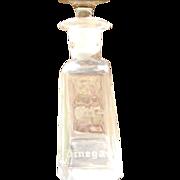 Facet Cut Glass Oil/Vinegar Bottle Sterling Overlay Stopper