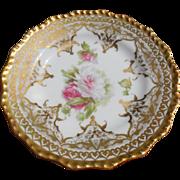 Jean Pouyat Limoges France Porcelain Floral & Gold Plate