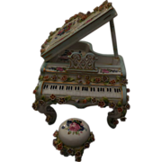 Dresden Porcelain Music Piano-Beethoven's Fur Elise Mint Condition