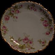 Limoges Elite Works Porcelain 8.5 inch Plate, Roses with Gold Trim-Limoges France