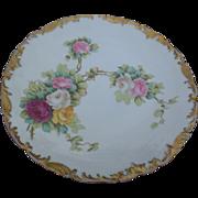 Antique T & V Limoges France Roses Plate Gold Trim Signed Rozer