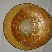SALE Carnival Glass Bowl: Dragon & Strawberry by Fenton