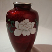 SALE 1950s Cloisonne on Pigeon Blood Basse-Taille Vase by Sato of Japan