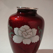 SALE 1950s Cloisonne on Pigeon Blood Basse-Taille Vase by Sato of Japan - Bird