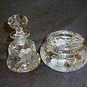 Dresser Set; Cologne with Stopper & Hair Receiver