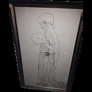 Unique Edwardian Bridal Folk Art Memory Album Portrait