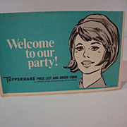 "SALE Tupperware® ""Welcome to our Party! Tupperware® Price List and Order Form"" 1973©"