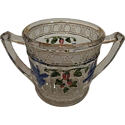 Bird & Strawberry with Stain EAPG Sugar Bowl without Lid