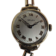 Edwardian 14K Gold Gruen Women's Wristwatch c1918