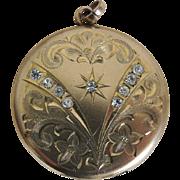 Art Nouveau Locket Gold Filled Paste Rhinestones