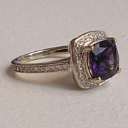 Vintage Diamond Amethyst Halo Engagement Ring