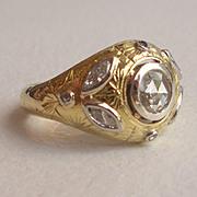 SALE Rose Cut Diamond Engagement Ring
