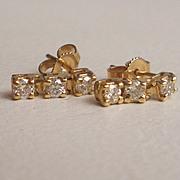 Yellow Gold Diamond Cluster Stud Earrings