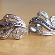 Gorgeous Vintage Blue Sapphire and Diamond Stud Earrings