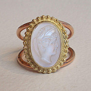 Carved Moonstone Ring Intaglio Ring Cameo Ring