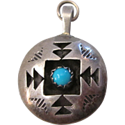 Vintage Native American Two Sided Sterling Silver and Turquoise Shadowbox 3-D Charm Pendant