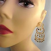 SALE Fabulous, Huge 14K Yellow Gold Chandelier Pierced Earrings, 9.3 Grams!
