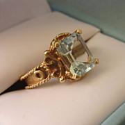 SALE Exquisite Estate 14K Gold 2 Carat Aquamarine Etruscan Revival Ring, Size 6-1/4