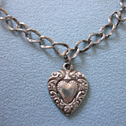 SALE Romantic Victorian Sterling Bracelet and Heart Engraved Charm